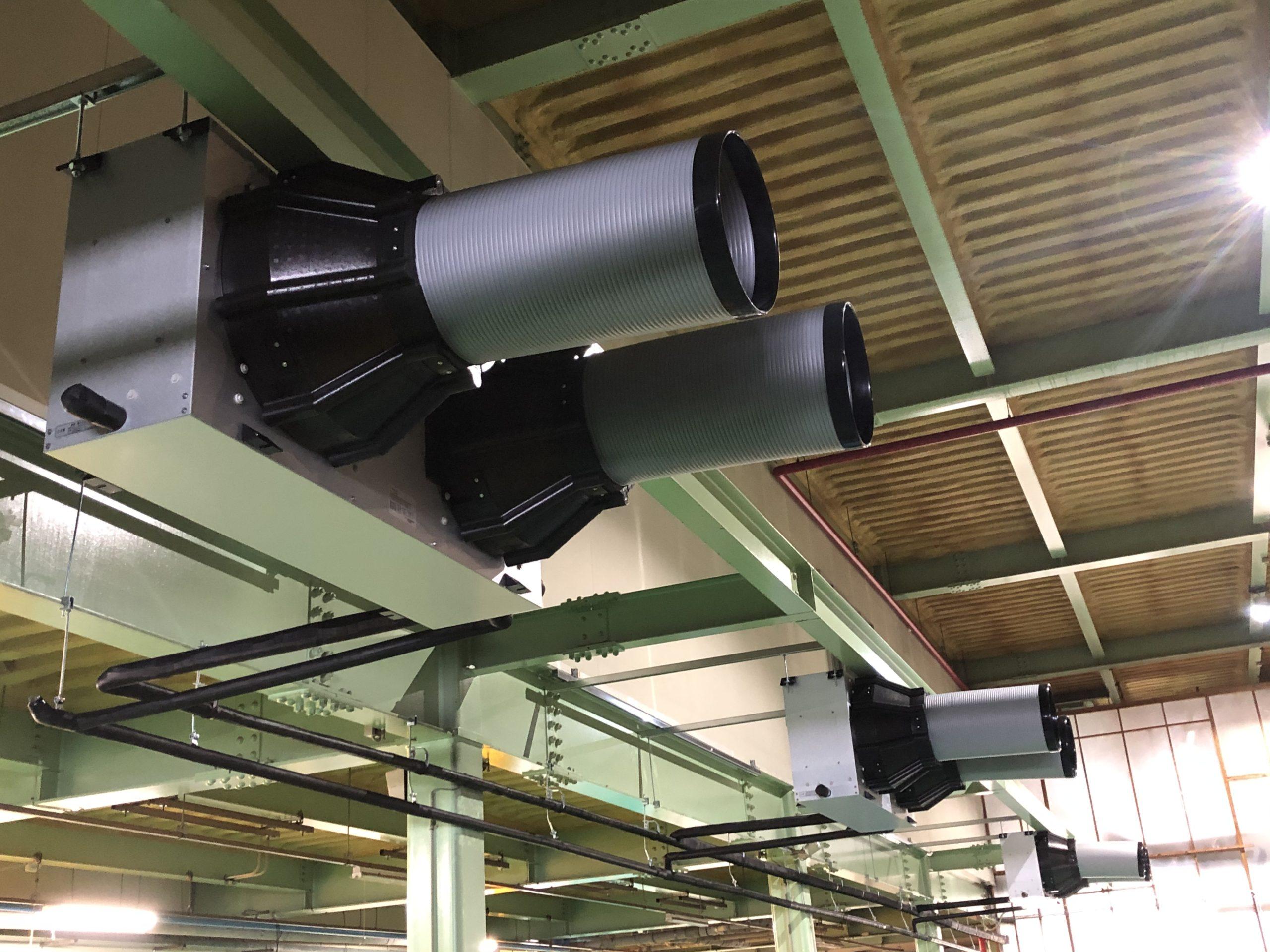 複数台導入設置することにより、冷気を循環させ工場内全体を冷却します。大風量効果により隅々まで冷気を送ることで熱溜りを減少させる効果があります。